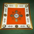 Vintage GEORGES BRIARD Square Glass Tray DISH GOLD ORANGE DESIGNER FLORAL Butterfly