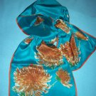 VINTAGE VERA NEUMANN SCARF ~BOLD BROWNISH BLOOMS ~AQUA GREEN, BROWN, ORANGES~SILK JAPAN