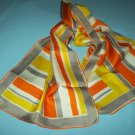 VINTAGE VERA NEUMANN SCARF ~GEOMETRIC DESIGN~YELLOW, ORANGE, WHITE, GRAY~SILKY