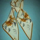 VINTAGE VERA NEUMANN LONG PENNANT STYLE SCARF ~LARGE BROWN, GRAY FLOWERS ~CHIC~LADYBUG