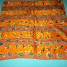 LIZ CLAIBORNE SILKY HALLOWEEN SCARF ~JACK O'LANTERNS~PUMPKINS ~BRIGHT ORANGE