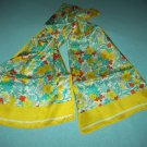 ELAINE GOLD DESIGNER  SCARF ~YELLOW, RED, GREEN FLORAL~BOLD FLOWERS~SILKY~