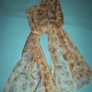 VINTAGE SHEER GOSSAMER LONG FLORAL SCARF~ iNDIA~POLYESTER~LIGHT PINK/LILAC/GREEN