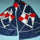 VINTAGE LEONARDI LONG GEOMETRIC SCARF ~ITALY~SELF FRINGE~RED/WHITE/BLUE~STRIKING