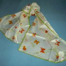 VINTAGE VERA NEUMANN SCARF ~BUTTERFLIES ~WHITE/ORANGE/GREEN~RECTANGLE~LADY BUG~SILK?