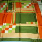 VINTAGE PAOLI SCARF ~JAPAN~GEOMETRIC~ACETATE~LIME/ORANGE/MUSTARD/AVOCADO~VERY STYLISH