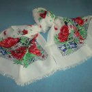 VINTAGE FLORAL SCARF ~RED POPPIES~DAISIES~WHITE/RED/BLUE/GREEN ~SELF FRINGE-BEAUTIFUL