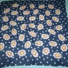 LIMITED 100% SILK FLORAL SCARF ~ITALY~ DAISIES AND DOTS~NAVY BLUE SHEER