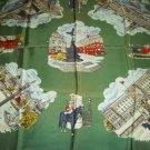 VINTAGE LONDON ENGLAND SOUVENIR SCARF ~ BIG BEN, TOWER, GUARD, PICCADILLY, PALACE~COLORFUL