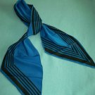 VINTAGE VERA NEUMANN FOR VERESA SCARF ~BLUE/BLACK~JAPAN~POLYESTER~LONG BIAS POINTED