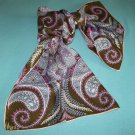 VINTAGE VERA NEUMANN SCARF~RETRO 60'S~ARTY~PAISLEY~BROWN/LILAC/HOT PINK/CREAM~ HAND ROLLED ~JAPAN