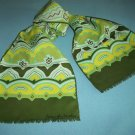 MONIQUE MARTIN DESIGNER SCARF ~OLIVE GREEN, YELLOW, WHITE~TRIBAL DESIGN