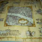VINTAGE LONDON ENGLAND SOUVENIR MAP SCARF~WESTMINSTER, BUCKINGHAM PALACE, PARLIAMENT, MARBLE ARCH