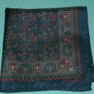 CHRISTIAN DIOR DESIGNER HANDKERCHIEF SCARF ~PAISLEY, DARK BLUE, RED~CLASSIC STYLE