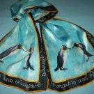 JANE SEYMOUR SIGNATURE SCARF~PENGUINS AND PEARLS~100% SILK~ADORABLE DESIGN