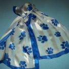 BLUE AND WHITE DOGGIE PRINT SCARF~HIGH FASHION~100% SILK~DOG~PAW PRINT