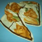NAOMI DESIGN LARGE TULIP SCARF~BROWN, BEIGE~WATER SILK~HAND MADE