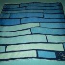 VINTAGE ELSA SCHIAPARELLI SCARF ~GEOMETRIC BLUE/WHITE~HAND ROLLED EDGE~100% SILK~CLASSY