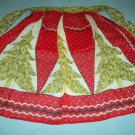 VINTAGE CHRISTMAS TREE APRON~RED,WHITE, GREEN~POCKETS~RETRO