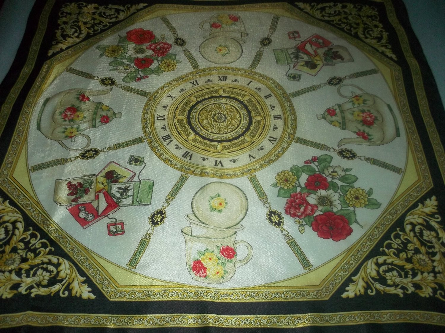 ELAINE GOLD DESIGNER SCARF ~TIME AND TEAPOTS~TAKING TEA~SILKY~