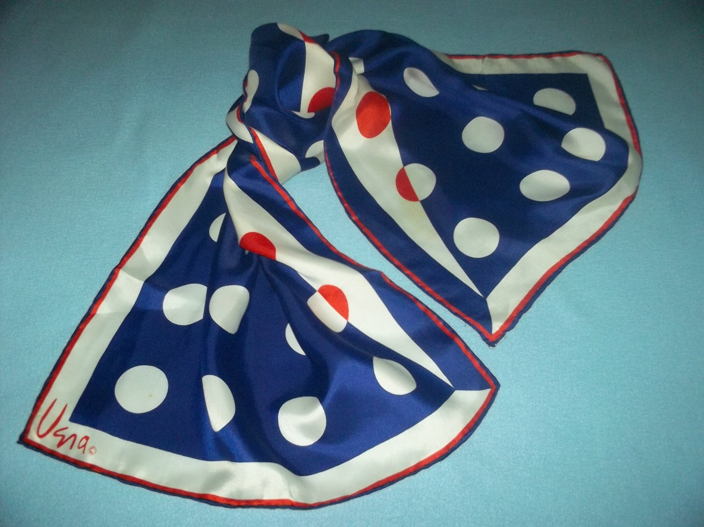 VINTAGE VERA NEUMANN SCARF~RED, WHITE & BLUE POLKA DOTS~60'S RETRO~CLASSIC
