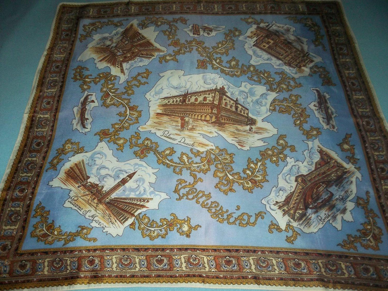 VINTAGE VENICE ITALY SOUVENIR SCARF~PONTE DI RIALTO, PIAZZA S. MARCO~LARGE CLASSY