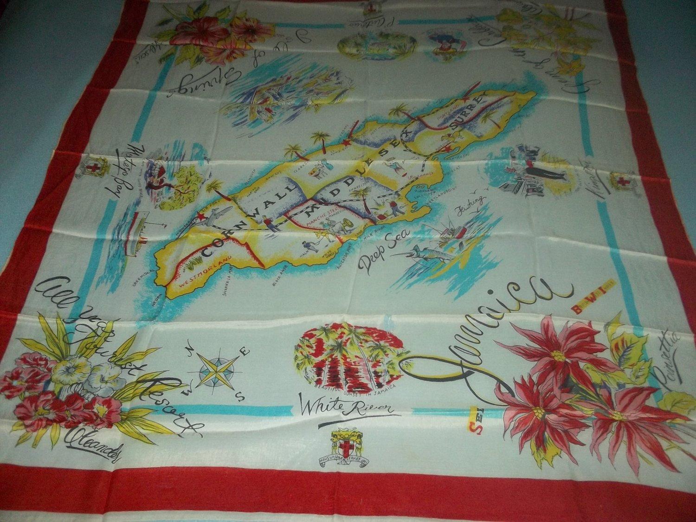 VINTAGE JAMAICA SOUVENIR SCARF ~KINGSTON, MONTEGO BAY~COLORFUL MAP, FLOWERS
