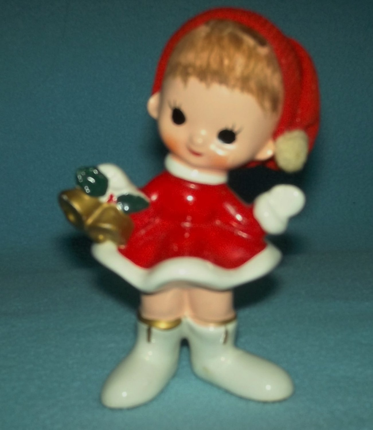 VINTAGE CHRISTMAS GIRL BELL-RINGER RED COAT Mid-Century