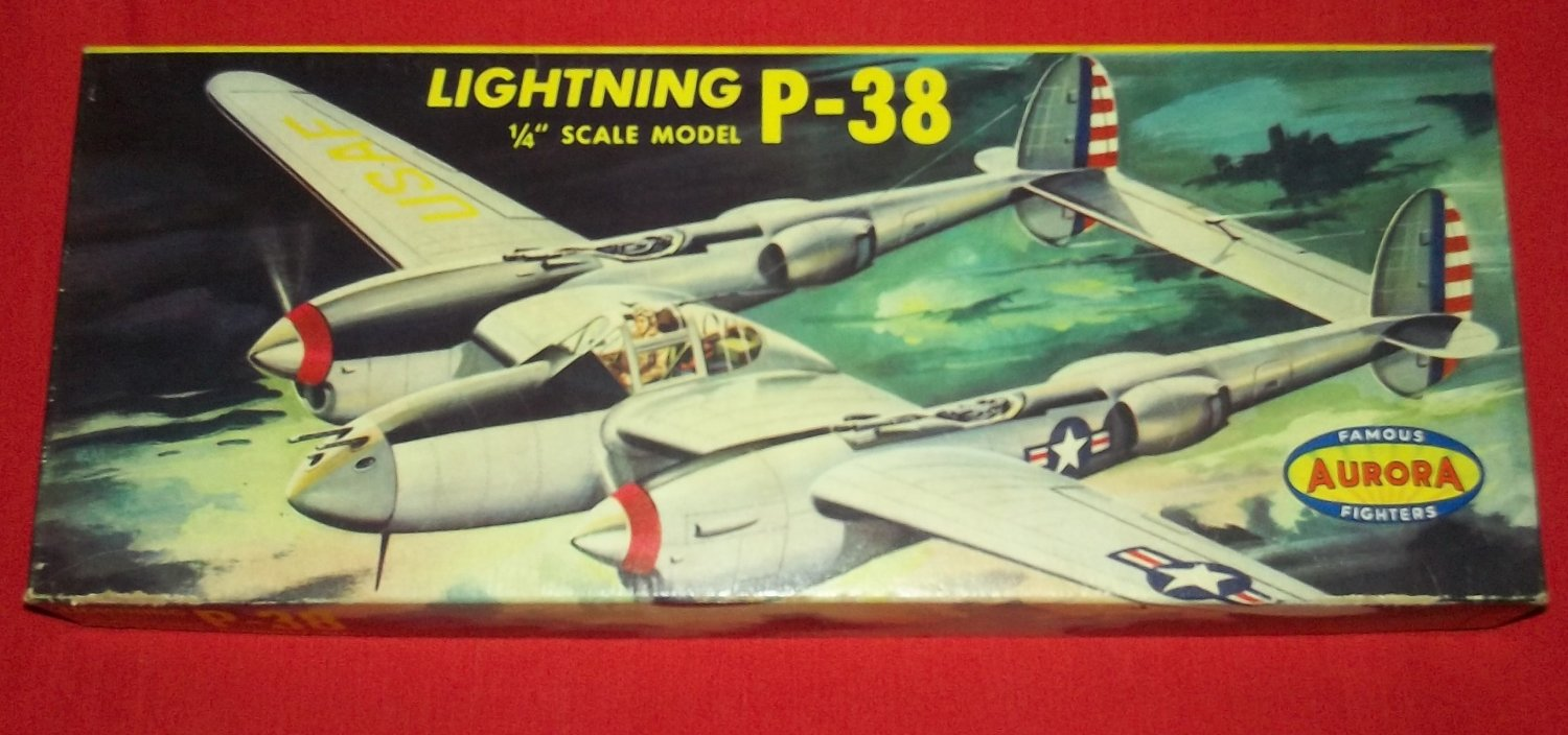 VINTAGE AURORA FAMOUS FIGHTERS P-38 LIGHTNING PLANE 1953 *BOX ONLY*