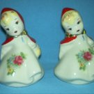 VINTAGE LITTLE RED RIDING HOOD SALT PEPPER SHAKERS HULL REGAL CHINA Originals