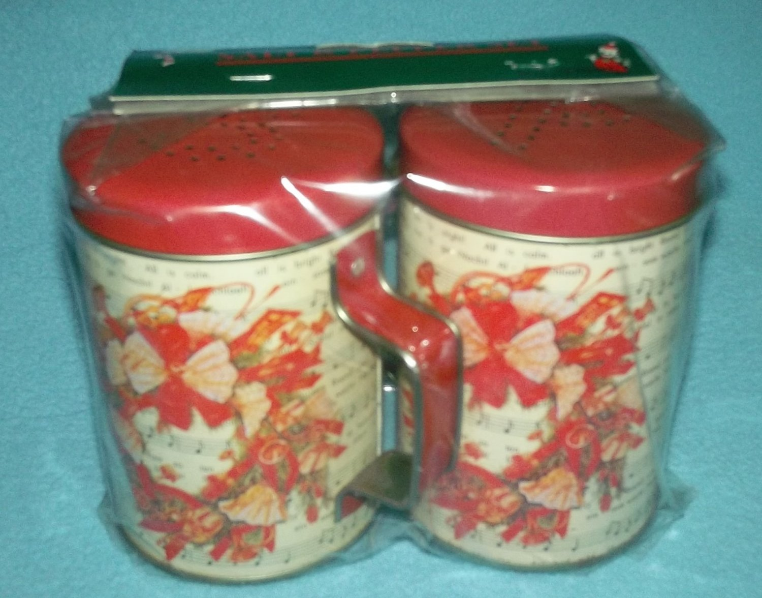 CHRISTMAS SALT AND PEPPER SHAKERS METAL RED WREATH SHEET MUSIC