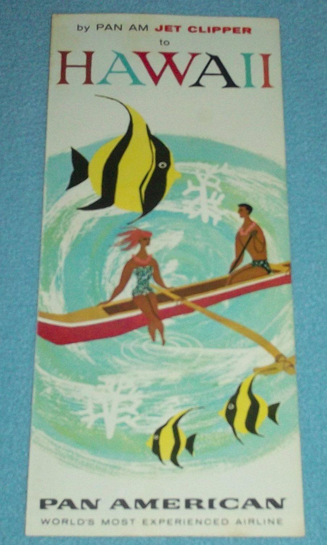 VINTAGE PAN AMERICAN HAWAII BROCHURE 1961 ISLANDERS IN BOAT FISH