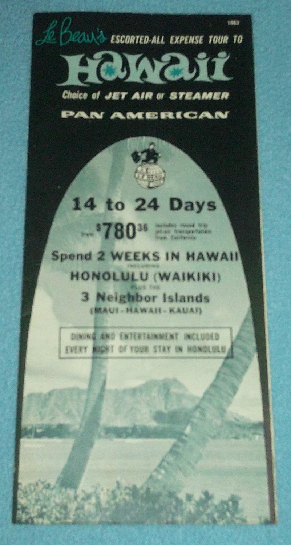 VINTAGE PAN AMERICAN HAWAII BROCHURE LE BEAU TOUR