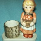 APPLE GIRL FIGURINE CANDLE OR TOOTHPICK HOLDER~HAND PAINTED~JASCO?