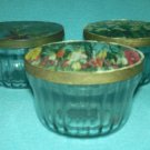 VINTAGE Hazel Atlas Glass JELLY JAM JARS Molds MID-CENTURY w/color lids