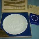 FENTON MILK GLASS Bicentennial Plate #1 of 4 GIVE ME LIBERTY 1973 w/box
