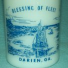VINTAGE Blessing of the Fleet DARIEN GEORGIA Souvenir Mug FEDERAL MILK GLASS