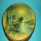 Vintage WOOD SLAB BARK Plaque WOODEN Country Home LAKE SCENE