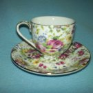 CHINTZ STYLE Cup and Saucer Set RED ROSES Floral PRETTY