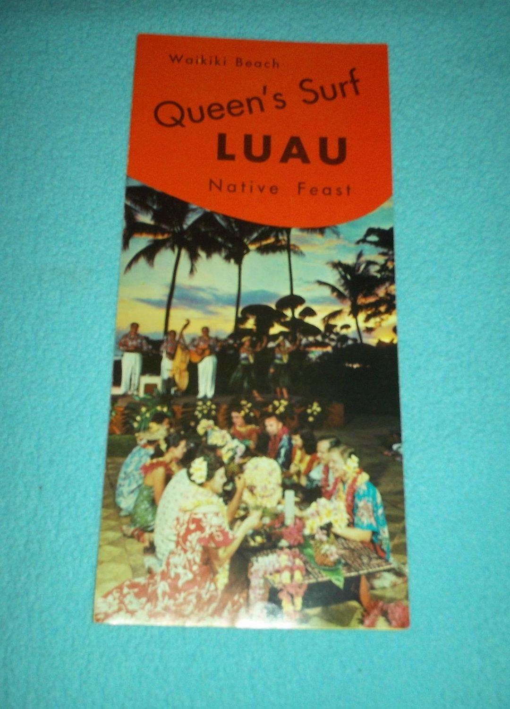 Vintage QUEEN'S SURF LUAU Hawaii BROCHURE Waikiki Beach NATIVE FEAST