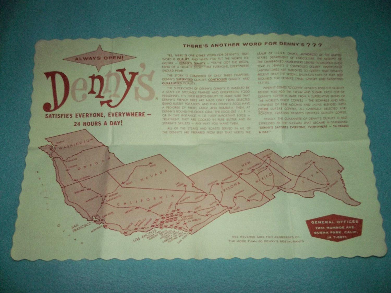 Vintage DENNY'S RESTAURANT Placemat BROCHURE 60s Map LOCATIONS