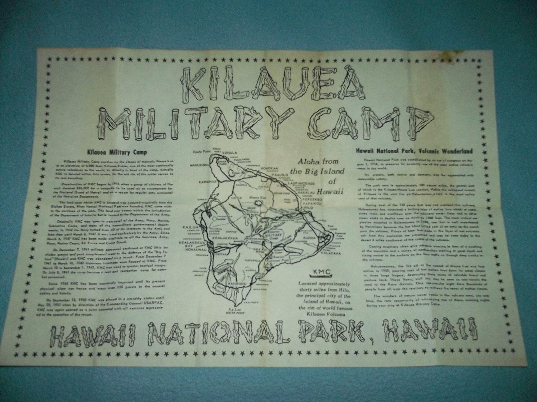Vintage KILAUEA MILITARY CAMP Map HAWAII Mauna Loa KMC