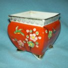 Vintage GOLD CASTLE JAPAN Red Gold PLANTER Birds, Flowers