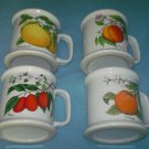 Vintage LAUFFER Fruit MUGS Set of Four PEACH ORANGE PLUM GRAPEFRUIT Botanical