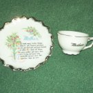MOTHER CUP AND SAUCER Vintage~JAPAN~POEM Mini