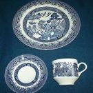 CHURCHILL Blue Willow 3 PCS Dinner Set PLATE CUP/SAUCER England Mint in Box