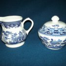 CHURCHILL Blue Willow CREAMER AND SUGAR BOWL SET England Mint in Box