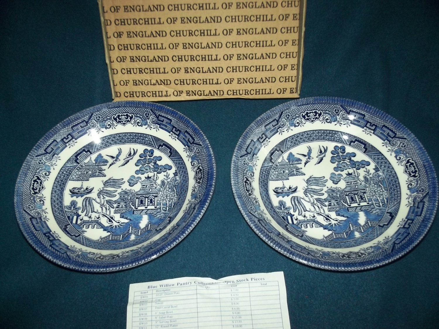 CHURCHILL Blue Willow SOUP BOWL SET of 2 England Mint in Box