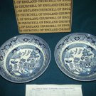 CHURCHILL Blue Willow FRUIT CEREAL BOWL SET of 2 England Mint in Box