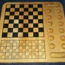 WOODEN GAME BOARD ~GAMES: TIC TAC TOE CHECKERS CHESS BACKGAMMON +